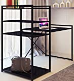 Brand New Black Modern Glass Desk and Bookcase Combination with Strong Metal Structure