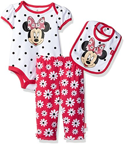 Disney Baby Girls' Minnie Mouse 3 Piece Soft Bodysuit, White Dots, 0-3 Months