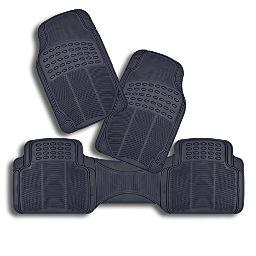 Zento Deals Set of 3-Piece Odorless All Weather Trimmable Heavy Duty PVC Rubber Vehicle Floor Mats (Black) (All Weather Mat Cleaner compare prices)