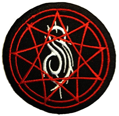 Toppe termoadesive - Slipknot stella logo - nero - Ø7,7cm - Patch Toppa ricamate Applicazioni Ricamata da cucire adesive