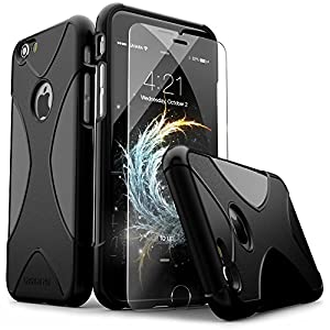 iPhone 6 Case, iPhone 6s Case, Black SaharaCase® X-Case Protection Kit with *Bonus ZeroDamage® Tempered Glass Screen Protector [120 Mix-Match Color Combinations] 3-Layer Protective Design (Black)