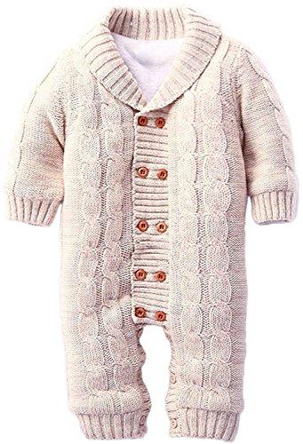 ZOEREA Infant Newborn Baby Romper Long Sleeve Velvet Knitted Sweaters Khaki
