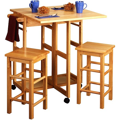 3-Piece Wooden Breakfast Space Saver Furniture Set In Natural front-871237