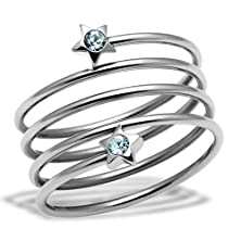 buy Women'S Stainless Aquamarine Crystal Multi Row Cocktail Ring, Size 5,6,7,8,9,10 (7)