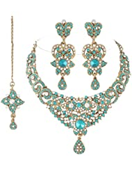 I Jewels Traditional Gold Plated Stone Necklace Set With Maang Tikka For Women (Bluish Green)(M4038Sb)