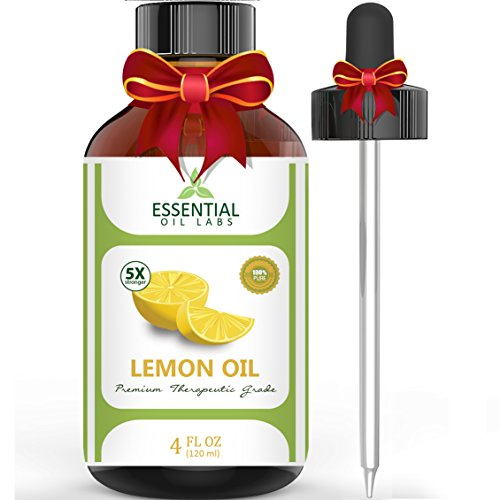 Essential Oil Labs Therapeutic Grade Lemon Oil with Dropper, 4 Ounce