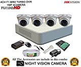 Hikvision DS-7104HGHI-F1 Mini 4CH Dvr, 4(DS-2CE56COT-IR) Dome Camera (with Mouse, 1TB HDD, Bnc&Dc Connectors,Power Supply,Cable)