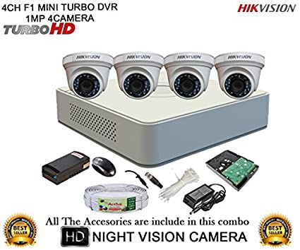 Hikvision-DS-7104HGHI-F1-Mini-4CH-Dvr,-4(DS-2CE56COT-IR)-Dome-Camera-(with-Mouse,-1TB-HDD,-Bnc&Dc-Connectors,Power-Supply,Cable)
