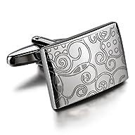 Men's Rhodium Plated Cufflinks Silver…