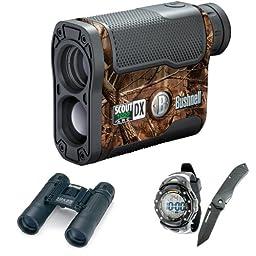 Bushnell Scout DX 1000 ARC Laser Rangerfinder- 202356 + Watch & Knife Combo + Folding Roof Prism Binoculars