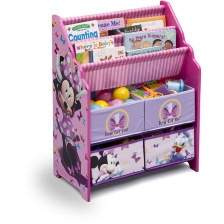 Book-and-Toy-Organizer-Disney-Book-and-Toy-Organizer-Kids-Book-Organizer-Book-Rack-and-Toy-Bin-Fabric-Storage-Bin-Bookcase-Storage-Chest-Featuring-Minnie-Mouse