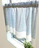 SunnyDayFabric カフェカーテン キッチン ボーダー 約110cm幅×45cm丈 アクアブルー