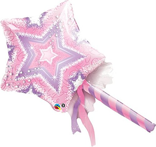 "Star Magic Wand Oversized 36"" Mylar Foil Balloon- Princess Birthday Party"
