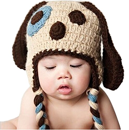 Photography Prop Baby Infant Costume Long Ear Puppy Dog Crochet Knitted Hat Cap