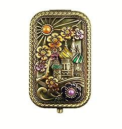 Ivenf Antique Bronze Castle & Flower Square Vintage Compact Purse Mirror, Christmas Gift