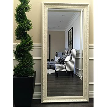 West Frames Elegance Ornate Embossed Antique White Wood Framed Floor Mirror