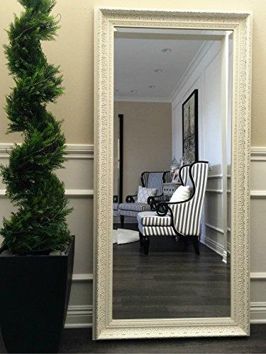 West Frames Elegance Ornate Embossed Antique White Wood Framed Floor Mirror 0