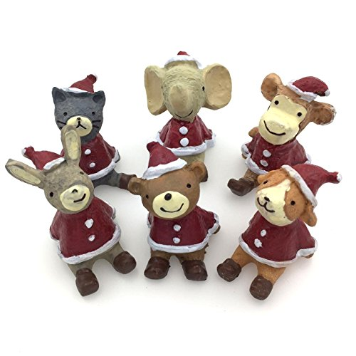 CECII 6pcs-set , Creative Ornaments , Micro Home Decoration,also for the flower pot decorate (Including Cat*1,Dog*1,Rabbit*1,Bear*1,Elephant*1, Monkey*1)