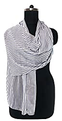 Anuze Fashions New Design White line & Blue Print Scarves For Women's And Girl's