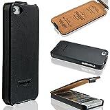 iPhone 5 / 5s H�lle LEDER - schmal und leicht - SMART VIEW - weicher Displayschutz - Pr�gungen - HANDGEFERTIGT - Leicht zu reinigen - Flip Cover Case - Farbe Schwarz