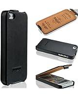 Coque Iphone 5 / 5s - véritable cuir fait main - la meilleure protection pour votre téléphone mobile à clapet - Étui pour smartphone - Noir