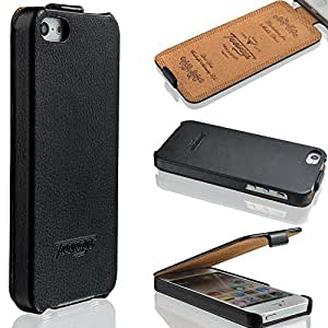 iPhone 5 / 5s Hülle LEDER - schmal und leicht - SMART VIEW - weicher Displayschutz - Prägungen - HANDGEFERTIGT - Leicht zu reinigen - Flip Cover Case - Farbe Schwarz