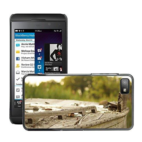 Carcasa Funda Prima Delgada SLIM Casa Case Bandera Cover Shell para // M00150040 Legno Broke Outdoor Vecchia Struttura // BlackBerry Z10
