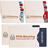 Anti-Theft RFID Blocking Sleeves (10 Credit Card, 2 Passport, 12-Pack) Top Identity Theft Protection Travel Case Set. Sleeve Holders fit all Wallet Cards Slots, Secure Protection from Identity ID Theft and Credit Card Fraud, Protective Metallic Shield Material ,Protect Yourself NOW!