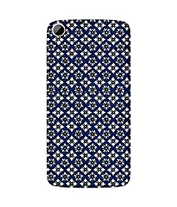 Mosaic White Flowers Printed Back Cover Case For HTC Desire 828