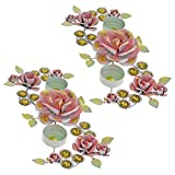 2 Sets Of Handmade Colurful Diyas Diwali Candle Light Holders Rangoli Decoration