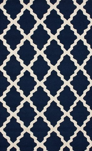 Nuloom 3'6 x 5'6 Hand Hooked Marrakech Trellis Rug in Navy Blue
