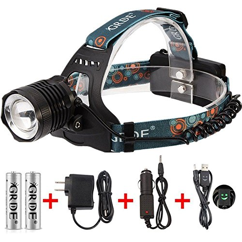 Zoomable-Headlamp-3-Mode-1800Lumens-Rechargeable-LED-Flashlight-Water-resistant-Head-Torch-2-X-18650-Rechargeable-Batteries-Wall-Charger-Car-Charger-Headlight-Special-USB-Cable