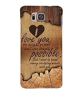 I Love you 3D Hard Polycarbonate Designer Back Case Cover for Samsung Galaxy Alpha G850