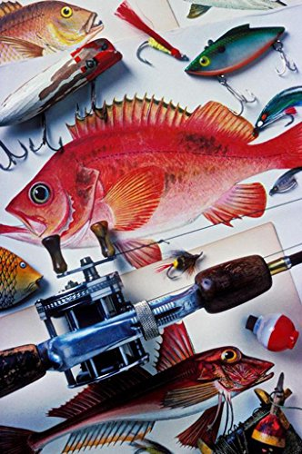 Eden Art-A Variety Of Fish And Fishing Rod Picture Print On Canvas Modern Home Decorations Art Large Canvas Wall Art One Piece Canvas Art Stretched And Framed 10*14Inch