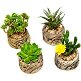 Assorted Set of 4 Green Artificial Faux Mini Succulent Plants w/ Pebble Sand Potted Stone Like Cement Pot