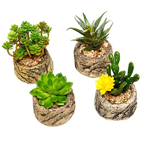Assorted-Set-of-4-Green-Artificial-Faux-Mini-Succulent-Plants-w-Pebble-Sand-Potted-Stone-Like-Cement-Pot