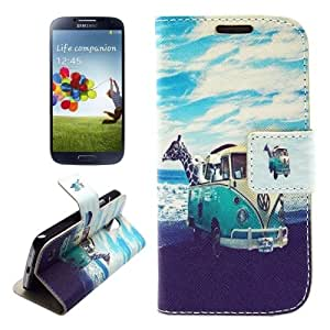Crazy4Gadget Lovely Animals on the Beach Pattern Horizontal Flip Leather Case with Holder & Card Slots & Wallet for Samsung Galaxy S IV / i9500