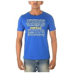 Chennai Gaga Men's Round Neck Cotton T-shirt Vanakkam 112-3-805-Franceblue-L