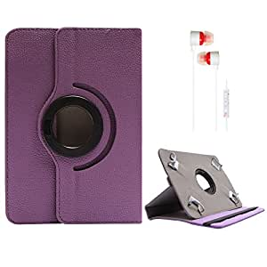 DMG Portable Foldable Stand Holder Cover Case for Micromax Funbook P256 (Purple) + White Stereo Earphone with Mic and Volume Control