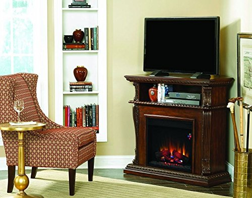 Classic Flame Walnut Corinth Wall/Corner Dual Electric Fireplace 23De1447-W504
