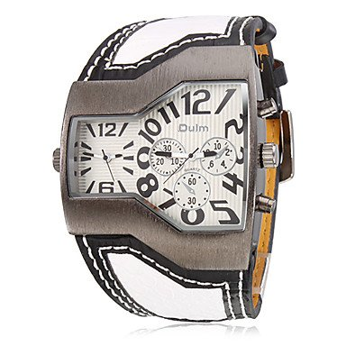 Soleasy New Men'S Trapezoidal Dial Pu Band Quartz Analog Wrist Watch (2 Time Zones, White) Wth1005