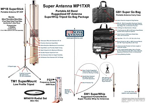 Super Antenna MP1TXR SuperWhip Tripod HF All Band MP1 Antenna with