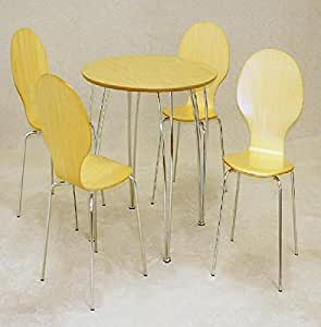 ROUND BEECH DINING SET TABLE 4 CHAIRS