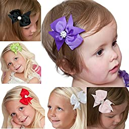 Quest Sweet - Grosgrain Baby Hair Bow Clips (Headbands Not Included,Diamond Bow 6 PACK