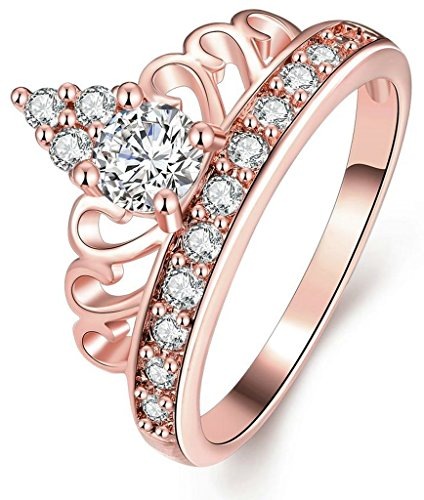 AnaZoz Jewelry Hers & Women's For Fashion Luxury 18K Rose Gold Plated Round-Cut and Halo AAA+ Cubic Zirconia CZ Princess Crown Tiara Ring Engagement Wedding Band Top Rings Bridal Jewelry Set 6MM US Size 6