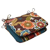 Pillow Perfect Indoor/Outdoor Annie Westport Reversible Rounded Seat Cushion, Chocolate, Set of 2