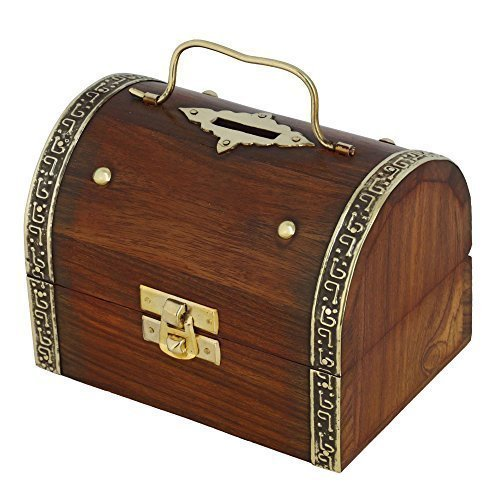 Antique Inspired Treasure Chest Wooden Box Safe Money Bank 5 X 3.5 Inches