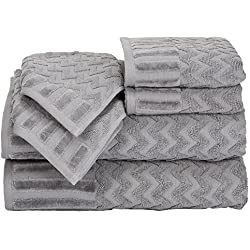 Bedford Home Chevron Egyptian Cotton 6 Piece Towel Set - Silver