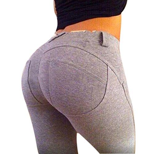 Botetrade Hip ghette delle donne Slim fitness spinge verso l'alto elastico legging sexy Pencil Pants Grigio M