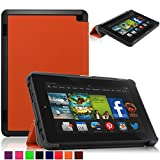 Britainbroadway 2014 Fire HD 7 Case Cover - Tri-Fold Ultra Slim Stand Case Cover With Smart Cover Auto Wake/Sleep Case For Amazon New Kindle Fire HD 7.0 Inch 4th Generation Tablet (Fire HD 7, Orange)